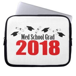 Med School Grad 2018 Caps And Diplomas (Red) Laptop Sleeve