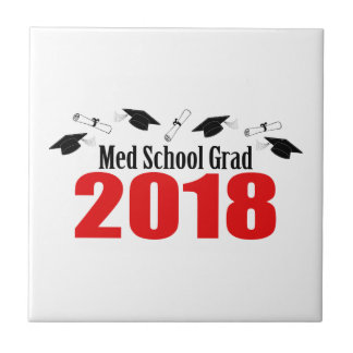 Med School Grad 2018 Caps And Diplomas (Red) Tile