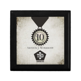 Medal emblem 10 year employee anniversary gift box