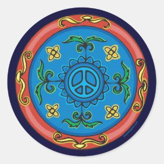 Medallion Design Peace Sign Classic Round Sticker