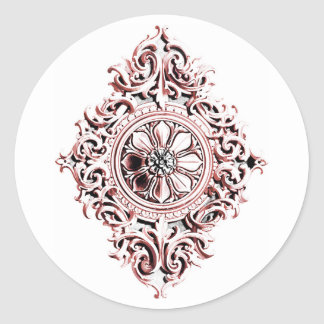 Medallion in Pink and Gray Classic Round Sticker