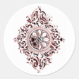 Medallion in Pink and Gray Round Sticker