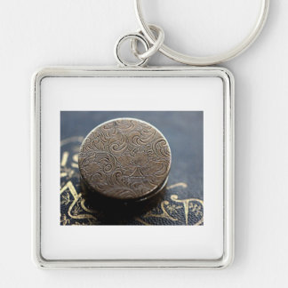 medallion Silver-Colored square key ring
