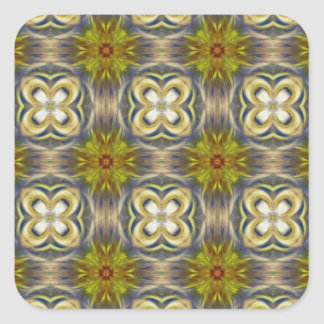 Medallion Pattern in Gold and Blue Square Sticker