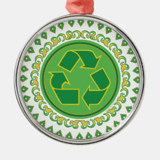 Medallion Recycle Symbol Silver-Colored Round Decoration
