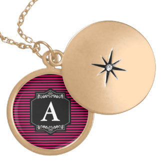 Medallion Redondo Gold Pink Stripes Monogram Locket Necklace