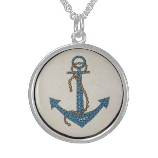 Medallion Round Dotted Anchor Mosaic Sterling Silver Necklace