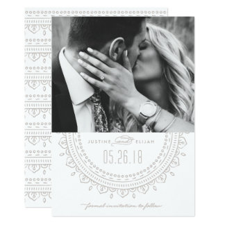 Medallion Save the Date Card - Ash