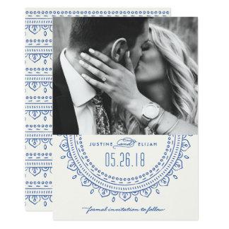 Medallion Save the Date Card - Cobalt