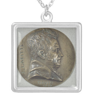 Medallion with a portrait of Jacques Lafitte Silver Plated Necklace