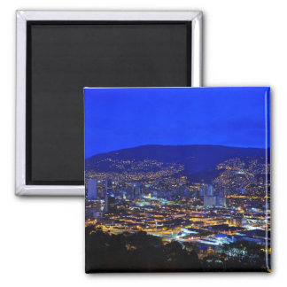 Medellin, Colombia at Night Square Magnet
