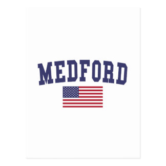 Medford MA US Flag Postcard