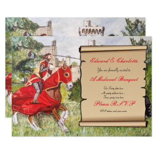 Mediaeval Banquet Invitation Jousting Horses