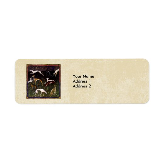 Mediaeval Greyhounds in the Deep Woods Custom Return Address Label