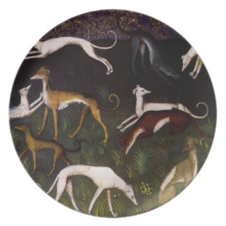 Mediaeval Greyhounds in the Deep Woods Plates