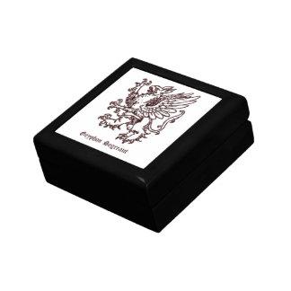 Mediaeval heraldry - Gryphon segreant white Small Square Gift Box