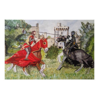 Mediaeval Joust against a Castle Poster