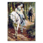 Mediaeval knight lady antique painting card
