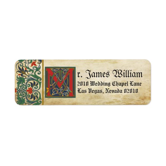 Mediaeval Manuscript Wedding Label Return Address Label