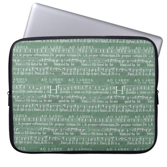 "Mediaeval Music Manuscript Neoprene Sleeve 15"" Laptop Computer Sleeve"