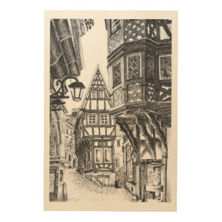 Mediaeval Townscape Wood Prints