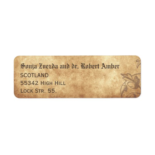 Mediaeval Wedding Return Label Return Address Label