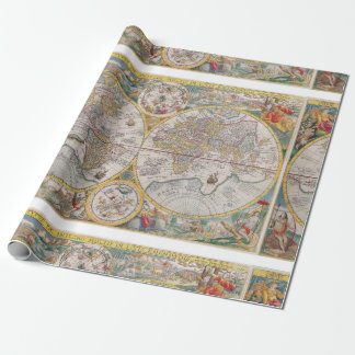 Mediaeval World Map From 1525 Wrapping Paper