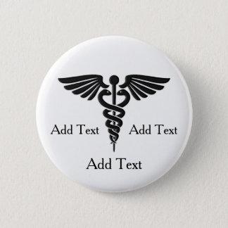 Medical Caduceus 3 Lines Custom Text 6 Cm Round Badge