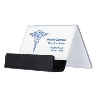 Medical Caduceus Custom Desk Business Card Holder
