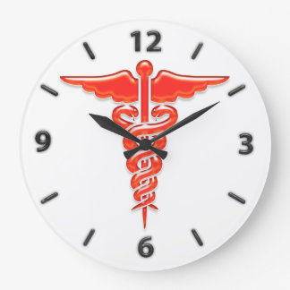 Medical caduceus large clock