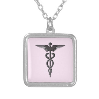 Medical Caduceus on Pink Silver Plated Necklace