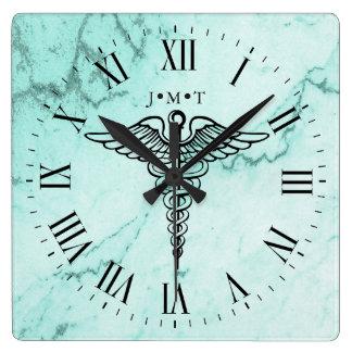 Medical Caduceus Symbol Custom Initials Marble Square Wall Clock