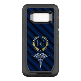 Medical Caduceus Symbol Custom Initials Navy OtterBox Defender Samsung Galaxy S8 Case
