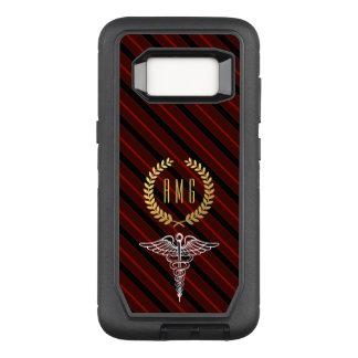 Medical Caduceus Symbol Custom Initials Red OtterBox Defender Samsung Galaxy S8 Case