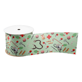 Medical Christmas Satin Ribbon