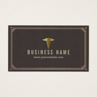 Medical Classic Gold Frame Brown Leather Business Card