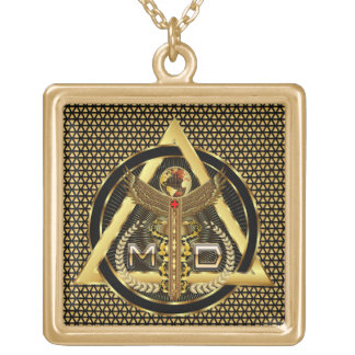 Medical Doctor Logo Square Only VIEW ABOUT Design Necklace