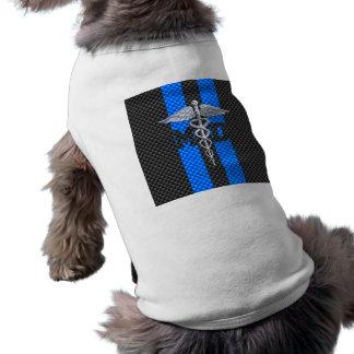 Medical Doctor MD Caduceus on Carbon Fiber Print Sleeveless Dog Shirt