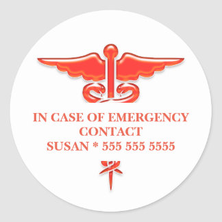 Medical emergency contact | Personalize Classic Round Sticker