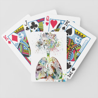 Medical Gifts Heart and Lungs Motif Bicycle Playing Cards