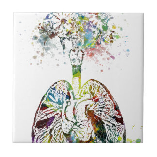 Medical Gifts Heart and Lungs Motif Ceramic Tile
