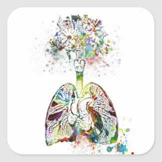 Medical Gifts Heart and Lungs Motif Square Sticker