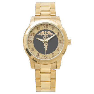 Medical gold shiny silhouette alert badge watch