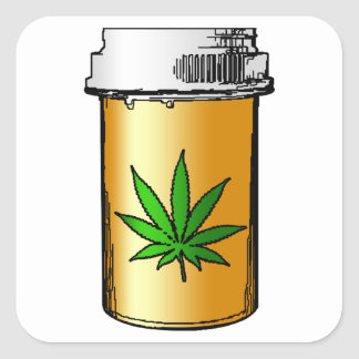 medical greens pill bottle square sticker