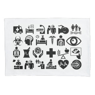 Medical Icons bold black and white design Pillowcase