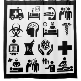 Medical Icons bold black and white design Shower Curtain