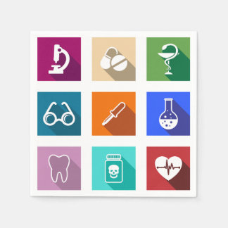 Medical Icons Paper Napkins