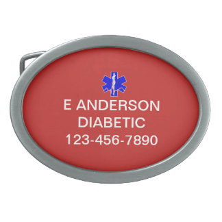 Medical Identification Emergency Information Alert Oval Belt Buckle