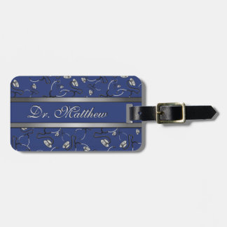 Medical, Nurse, Doctor themed stethoscopes, Name Luggage Tag