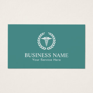 Medical Nursing Caduceus Symbol Teal Business Card